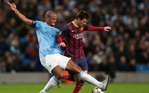 Lionel Messi Vincent Kompany Manchester City Barcelona UEFA Champions League