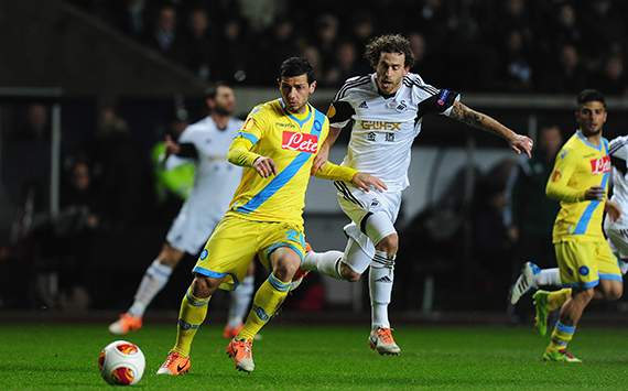 Jose Canas Blerim Dzemaill Swansea City SSC Napoli Europa League 02202014
