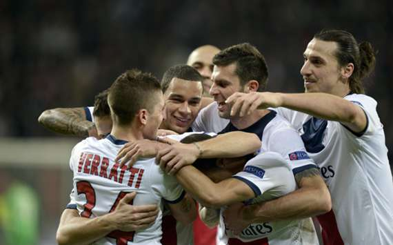 Yohan Cabaye celebrates a goal with his PSG team-mates