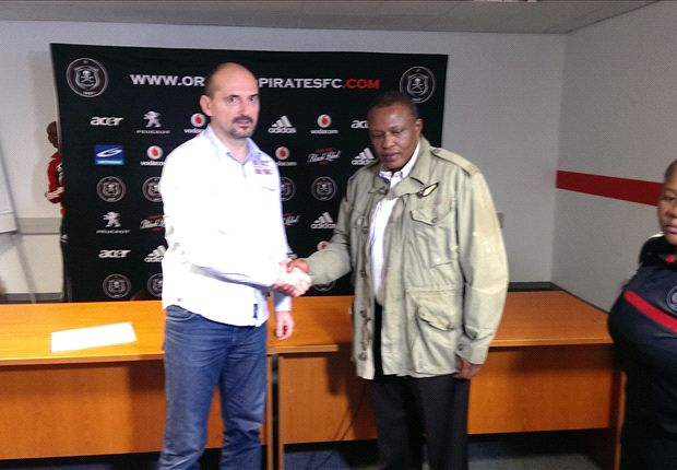 New Orlando Pirates coach Vladimir Vermezovic was introduced to his players
