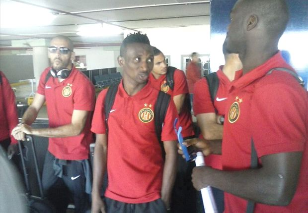 Esperance of Tunisia players at JKIA after arriving for Saturday's match.