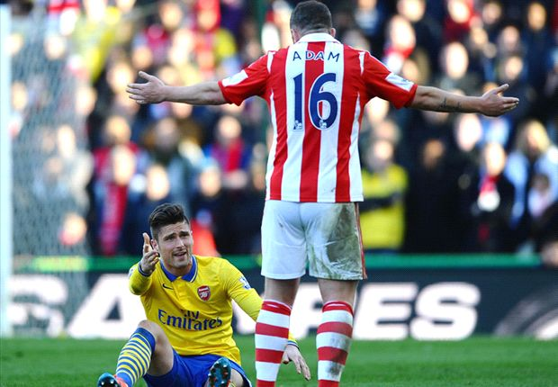 Stoke City's Adam charged with violent conduct by FA after alleged Giroud stamp