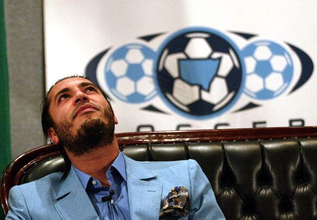 Al-Saadi Gaddafi ponders over a question at a press conference
