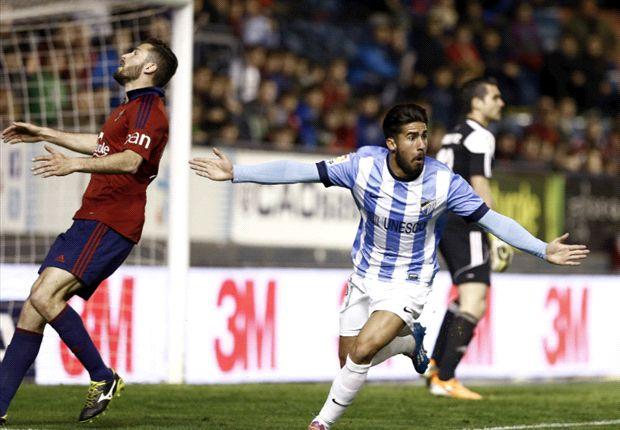 Osasuna 0-2 Málaga: Nordin Amrabat y Willy Caballero salvan la cabeza de Bernd Schuster