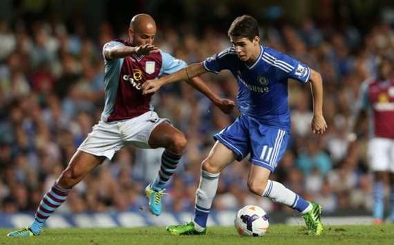 Chelsea and Aston Villa players battle