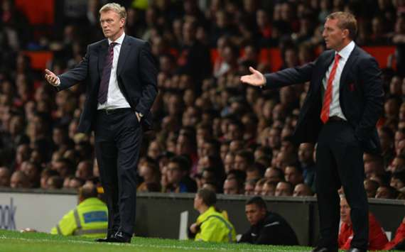 Manchester United manager David Moyes and Liverpool counterpart Brendan Rodgers
