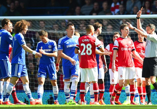 Gibbs wrongly sent off in case of mistaken identity v Chelsea