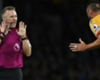 Crystal Palace defender Damien Delaney protests at referee Jon Moss