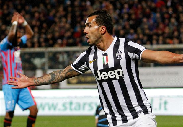 Catania 0-1 Juventus: Tevez tightens champions' grip on the title