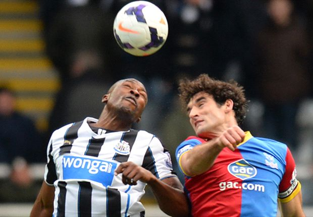 Mile Jedinak challenges Shola Ameobi in the air