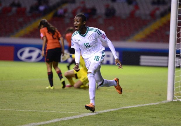 Uchenna Kanu celebrates scoring Nigeria's second goal