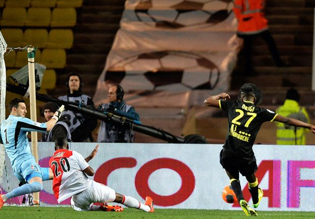 Kenyan born Divock Origi scores against AS Monaco in French Ligue 1.