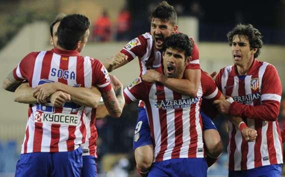 Atletico Madrid team-mates celebrate