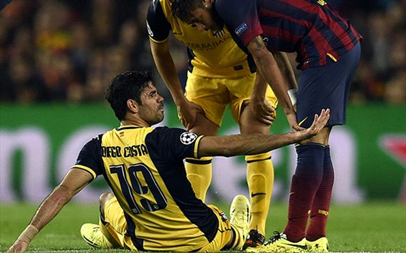 Diego Costa Atletico Madrid Barcelona Champions League Quarter Finals 04012014