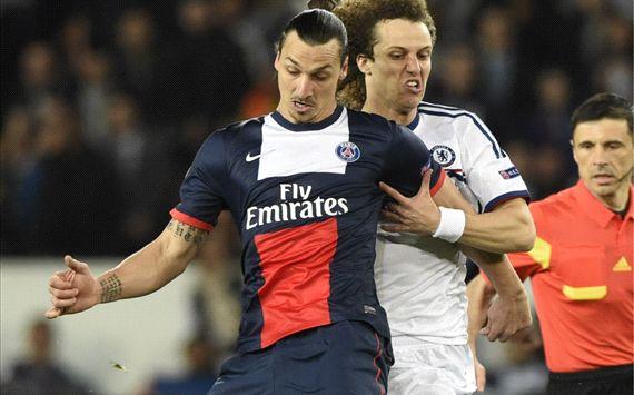Zlatan Ibrahimovic David Luiz Paris SG Chelsea Champions League 04022014