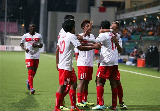The Protectors celebrate a goal against Churchill Brothers in their 2-1 AFC Cup win.