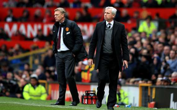 Newcastle United manager Alan Pardew and Manchester United boss David Moyes