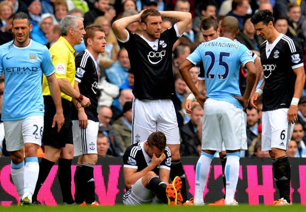 Jay Rodriguez stretchered off during Manchester City clash