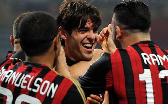 Milan celebrate Kaka's goal