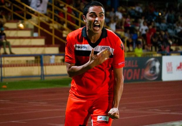 Hougang striker Diego Gama shows his delight at scoring his team's fourth against Tampines.
