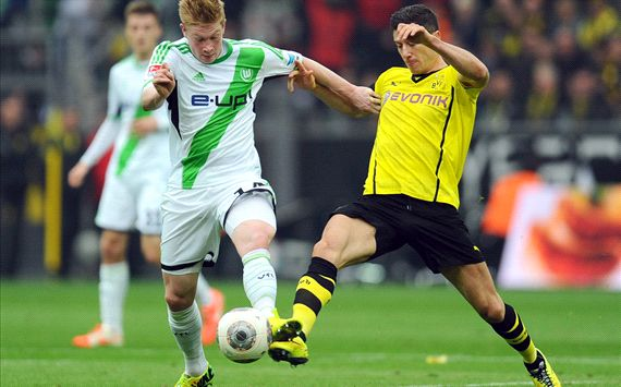 Kevin de Bruyne Robert Lewandowski Borussia Dortmund VfL Wolfsburg Bundesliga 04072014