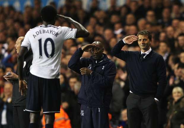 Adebayor hopes under-fire Tottenham boss Sherwood stays