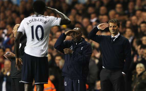 Emmanuel Adebayor and Tim Sherwood celebrate