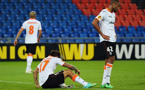 Valencia players during their 3-0 defeat to Basel