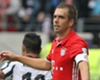 Philipp Lahm reacts as Bayern Munich concede a goal