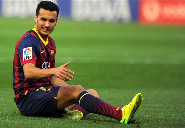 Pedro en un partido con el Barcelona