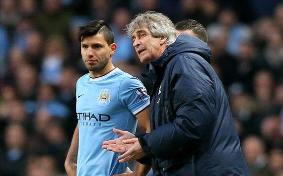 Manuel Pellegrini Sergio Aguero Manchester City Cardiff City English Premier League 01182014