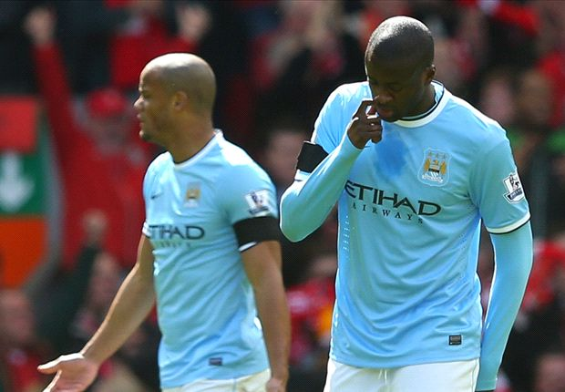 Yaya Toure limps out of Liverpool clash with knee injury