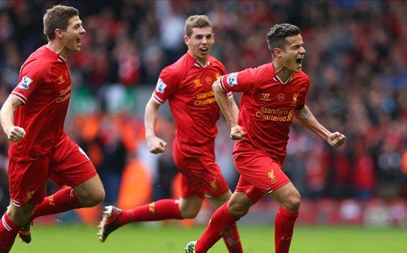 Philippe Coutinho Steven Gerrard Liverpool Manchester City Premier League 04132014