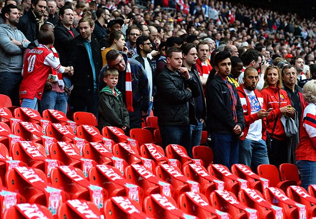 96 seats were left empty at the FA Cup semi-final in memory of the Hillsborough disaster