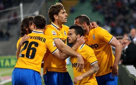 Juventus celebrate at Udinese