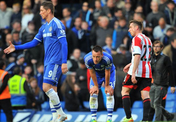 A dejected John Terry during Chelsea's loss to Sunderland.