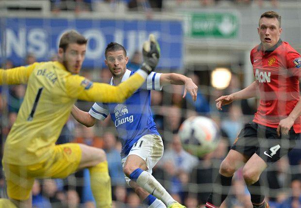 Everton 2-0 Manchester United: Baines & Mirallas ensure miserable Goodison Park return for Moyes