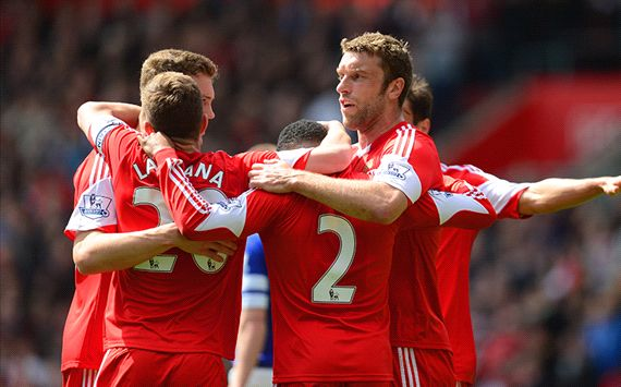 Adam Lallana Nathaniel Clyne Rickie Lambert Southampton Everton English Premier League 04262014