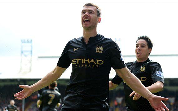 Edin Dzeko Samir Nasri Crystal Palace Manchester City Premier League 04272014