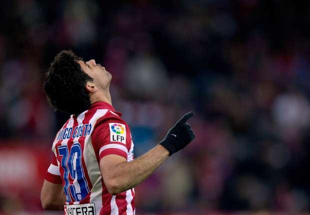 Atletico Madrid striker Diego Costa celebrates a goal