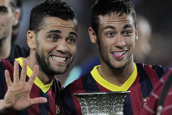 Barcelona defender Dani Alves and forward Neymar