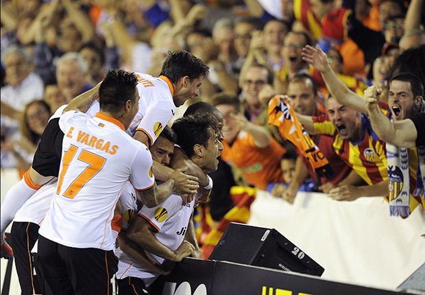 Valencia celebrate during the Europa League semi-final against Sevilla