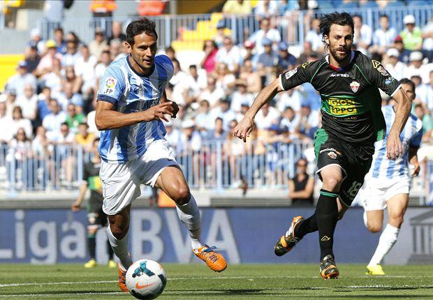Málaga 0-1 Elche: Garry Rodrigues saca petróleo de La Rosaleda