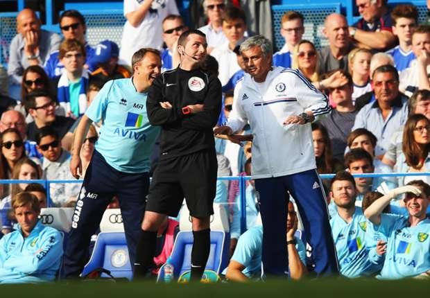 Norwich caretaker manager Neil Adams and Chelsea boss Jose Mourinho