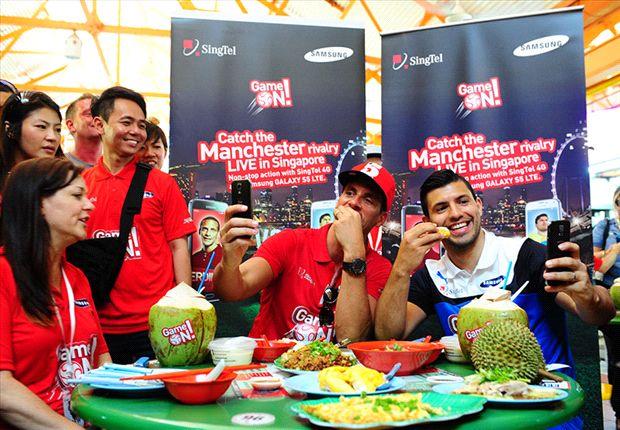 Ferdinand and Aguero taste Singapore culture