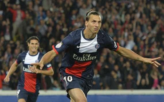 Zlatan Ibrahimovic celebrates a goal against Monaco