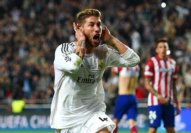 Ramos celebra su gol en la final de la Champions