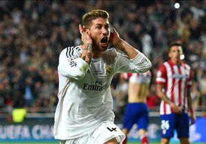 Ramos celebrando el gol en la final de la Champions