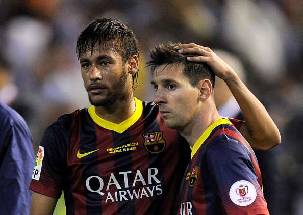 Neymar and Messi back in Barcelona training