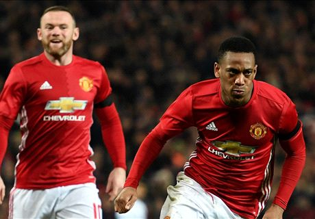 Martial at the double to oust West Ham